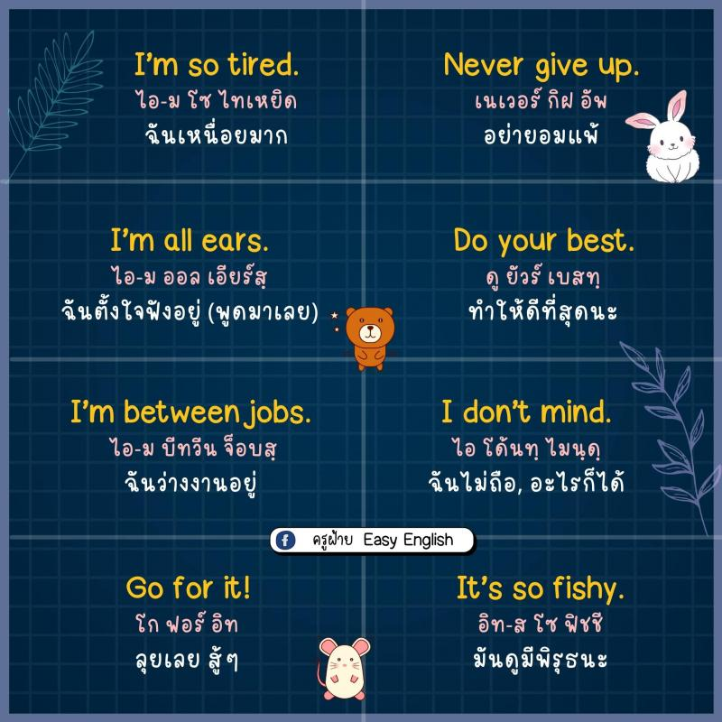 85 ประโยคภาษาอังกฤษ สั้นๆ ใช้ได้ทุกวัน โดยครูฝ้าย
