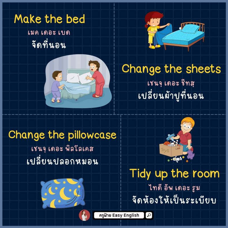 มัดรวมคำศัพท์ สอนลูกทำงานบ้าน โดยครูฝ้าย Easy English
